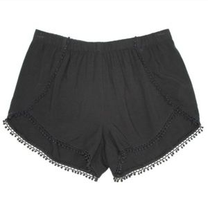 Express Black Stretchy Cotton Shorts w/ Lace Trim